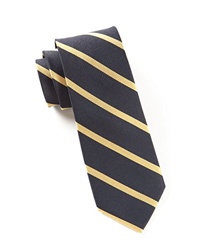 The Tie Bar 100% Woven Silk Midnight Navy and Gold Striped Skinny ()