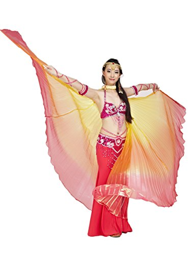 Dance Easy Costumes Halloween (Dance Fairy Belly Dance Colorful Isis Wings Halloween Costume(Yellow,Orange&Red Mixed No.3)(No)