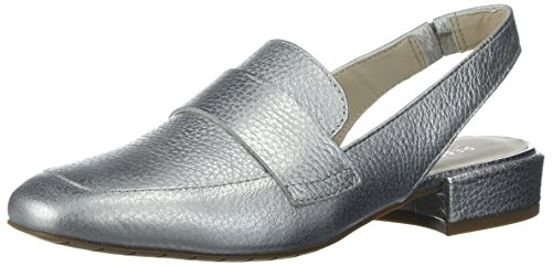 Ladies Slingback Shoe - Kenneth Cole REACTION Women's Bavi Menswear Inspired Slingback Loafer Flat, Silver, 7.5 M US