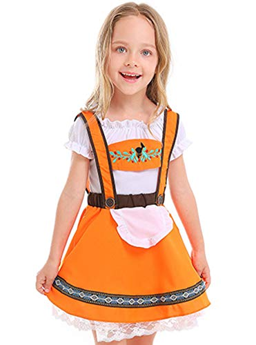 COSLAND Kids Girls' Lederhosen Oktoberfest Costume Dirndl Bavarian Uniform (Orange, Large) Kids Girls' Oktoberfest Costume Orange Dress Uniform -