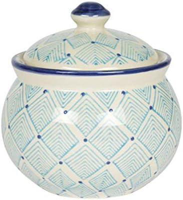 Blue Squares Ceramic Sugar Jar Bowl with Lid 4
