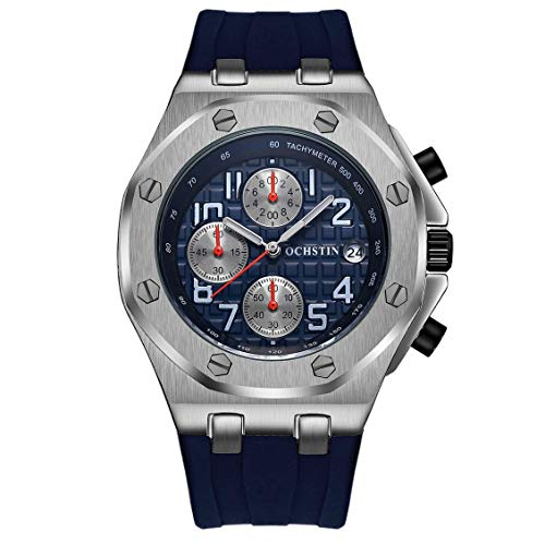 OCHSTIN 6100 Water-Resistant Quartz Movement Luminous Man Wristwatch Calendar Silver & Blue
