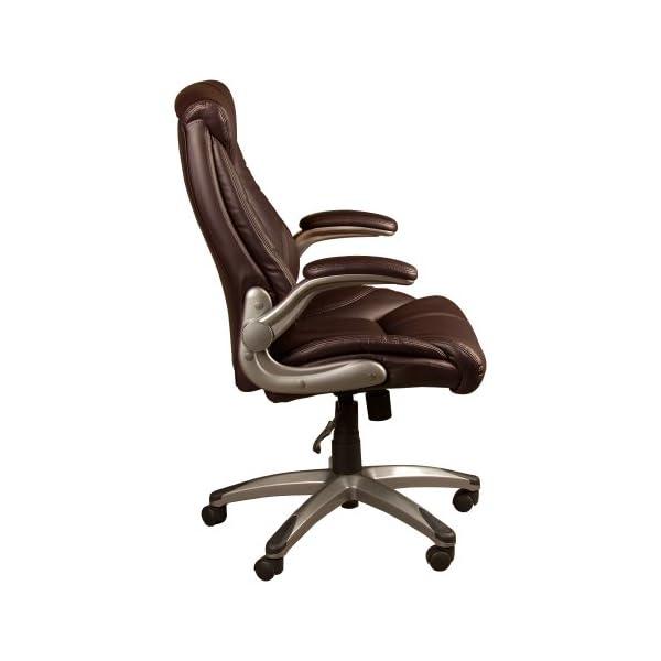Norwood Commercial Furniture – Chaise exécutive avec accoudoirs relevables, marron, NOR-OUG1041BR-SO