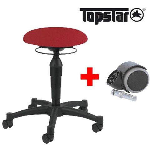 Topstar Hocker Body Balance 10 (rot) inkl. 5 Rollen fü r weiche Bö den + 5 Rollen fü r harte Bö den