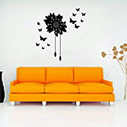 SUIE 1Pcs Removable Modern Black DIY Butterfly Flower Sticker Wall Clock Home Decoration