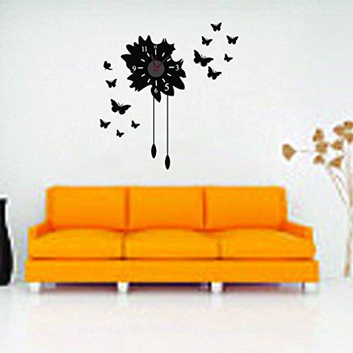 12' Cuckoo Clock (SUIE 1Pcs Removable Modern Black DIY Butterfly Flower Sticker Wall Clock Home Decoration)