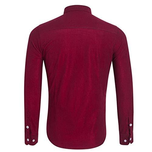 Pour Slim Manches Button Rouge Plus Chemise Casua Fit Size Business Blouse Longues Moderne Hommes À Solid Erren Top Casual Leisure Chemisier XgAwSwxq