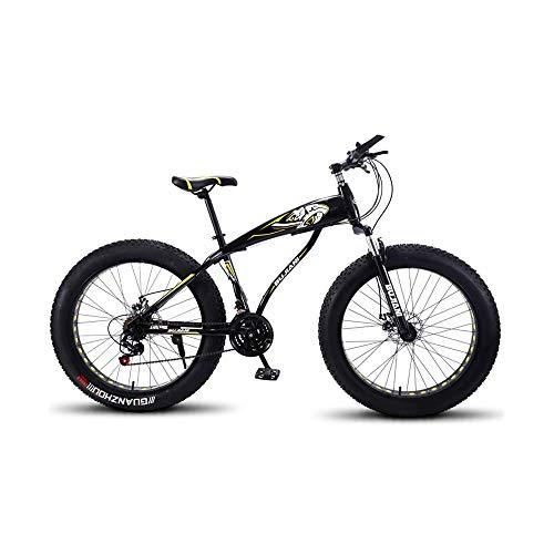 GYZLZZB Hollow Rim Cross-Country Beach Snowmobile 26″ Mountain Bikes,7 Speed Bicycle,Adult Fat Tire Mountain Trail Bike,Aluminium Alloy Frame Dual Full Suspension Dual Disc Brake(Black and Yellow)