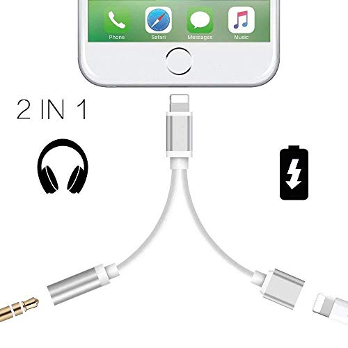 Headphone Adapter for iPhone 3.5mm Jack Headset Car Charge 2 in 1 Converter Connector Cable Headset Adaptor Splitter Aux Audio Compatible with iPhone 7/8 Plus/X/XS XR Max for iOS 10.3 or Higher