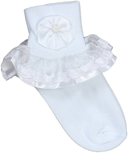 Little Girls' Christening Holy Communion Organza Lace Design Socks White 1-2
