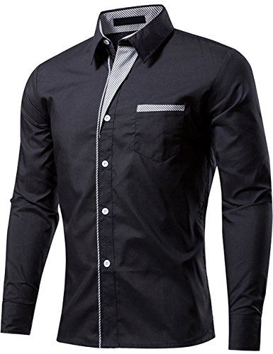DOKKIA Men's Casual Long Sleeve Striped-Trim Fitted Button Down Shirts Tops (X-Large, Black) ()
