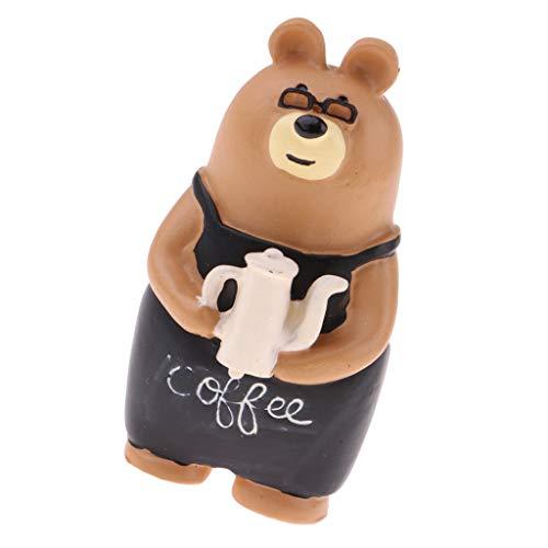 Brosco 1:12 Miniature Bear with Coffee Pot Model Dollhouse Landscape Garden Decor from Brosco