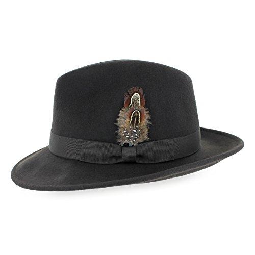 Belfry Bogart 100% Wool Men's Dress Fedora in 5 Colors (XXLarge, Chocolate)