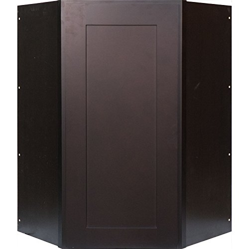 Everyday Cabinets 24 Inch Diagonal Corner Wall Cabinet in Shaker Espresso with (Diagonal Corner Wall)