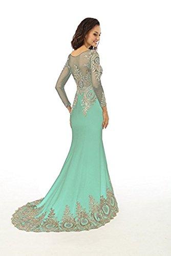 King's Kleid Strass Sheer Abendkleid nge Abendkleid Applikationen Mieder Boden Spitze Perlen L Meerjungfrau Minze Love Frauen Langarm rqxFCOr