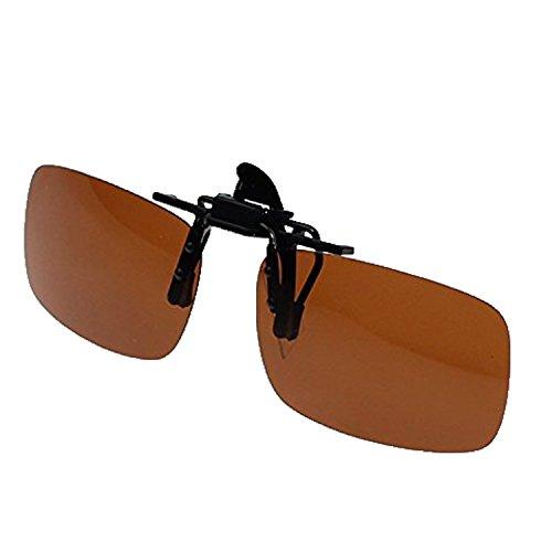 Zando Retro Polarized Clip on Flip up Easyclip Mental Sunglasses Outdoor Driving Fishing Cycling Brown - Original Made Aviator Sunglasses Who The