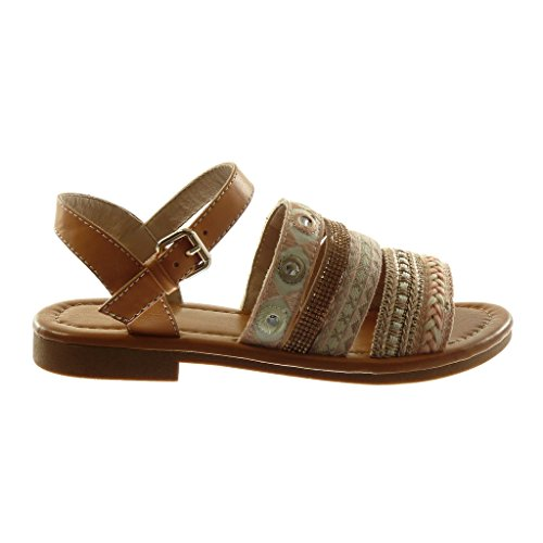 Angkorly Damen Schuhe Sandalen - Knöchelriemen - Folk - Bi-Material - Multi-Zaum - Fantasy - Strass Blockabsatz 2 cm Rosa