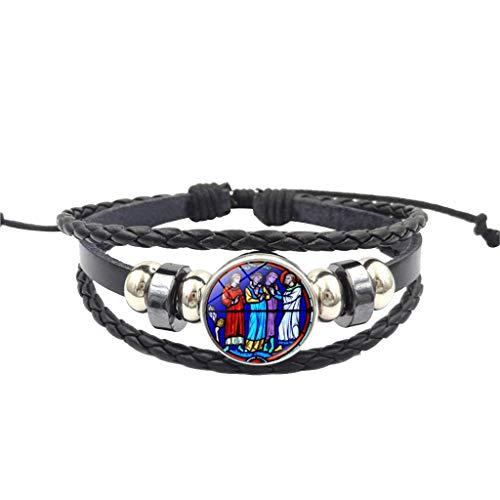 XBKPLO Bracelet Suit Men Women Boho Leather Weave Adjustable Layering Pendant Alloy Stained Glass Bohemia Fine Cuff Bangle Wild Jewelry