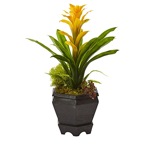 Nearly Natural 6927-YL Bromeliad in Black Hexagon Planter