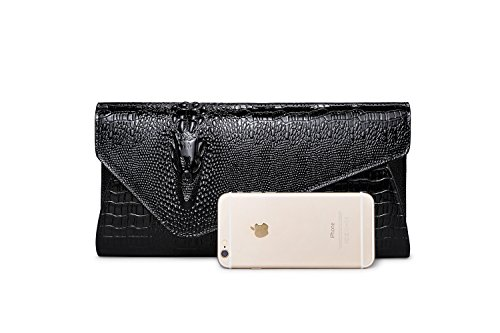Women's Wax synthetic Buckle Eastylish Black Party Oblique Leather Bag Purse Handbag Leather Genuine Cow Crocodile Shouder Rdwq56w