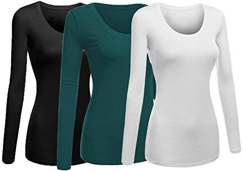 Emmalise Women's Junior and Plus Size Basic Scoop Neck Tshirt Long Sleeve Tee, Large, 3Pk Black, Green Teal, White
