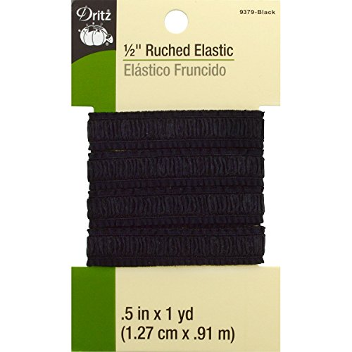 Dritz 9379 Ruched Woven Elastic, Black, 1/2-Inch by 1-Yard