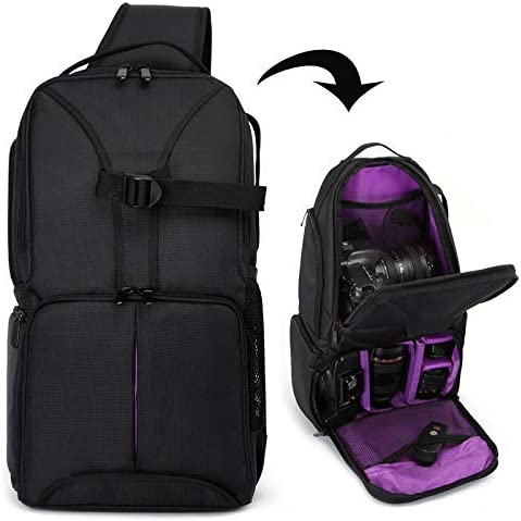 Color : Purple HUANGMENG Bag Waterproof Shoulder Backpack Padded Shockproof Camera Case Bag for Nikon HUANGMENG Orange