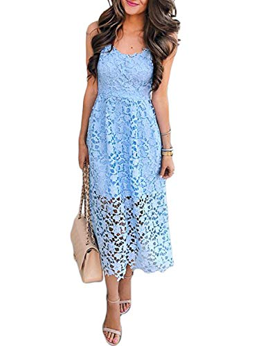 AlvaQ Ladies Women's Elegant Spaghetti Straps Backless Crochet Lace Wedding Party Cocktail Evening Swing Midi Dress Large Blue