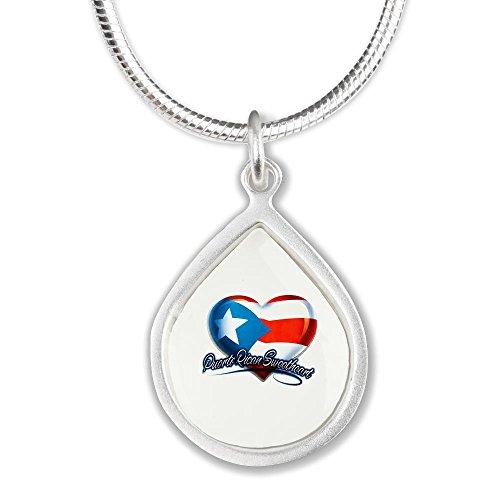 Silver Teardrop Necklace Puerto Rican Sweetheart Rico Flag