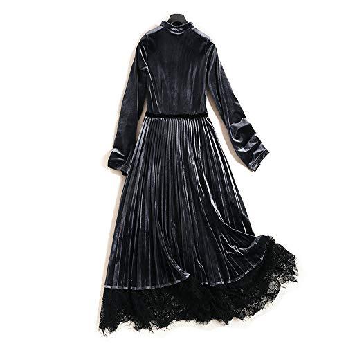 Robe Longue Élastique Red Jupe Pure V Sangle Haute En Femmes Mode Taille Or Doux Couleur Coutures Col Velours TfHXrgfqa