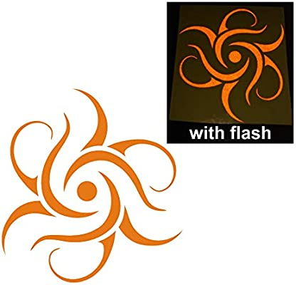 Orange Tribal Aztec Solar Sun Decal Reflective Reflector Planets Burn On Fire Gypsy Celtic Sticker 4 Inches Flash Night Vinyl Sport Motorbike Helmet