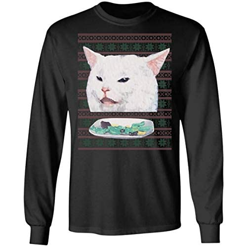 Sweater Long Sleeve Tee Cute Funny T-Shirt 6 Christmas Halloween Shirt Halloween Shirt Funny Angry Women Yelling at a Cat T Shirt Hoodie Confused Cat at Dinner Shirt