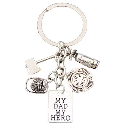 Fireman My Dad,My Hero Keychain-Hat,Extinguisher,Axe,& Fire Dept Medal