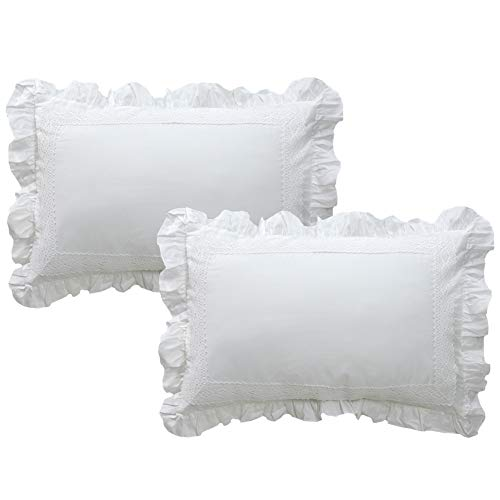 TEALP Decorative Pillow Shams Cotton Ruffled Pillow Covers Set of 2,Queen,White