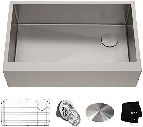 Kraus KHF410-33 Standart PRO Kitchen Stainless Steel Sink, 33 inch Flat Apron Single Bowl