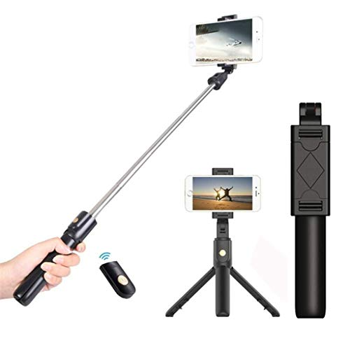 Sodoop Selfie Stick Tripod, Extendable BT Tripod Stick with Detachable Wireless Remote Control for Travel Family Photos Tripod Holder for Android, for iOS,for Action Camera and More