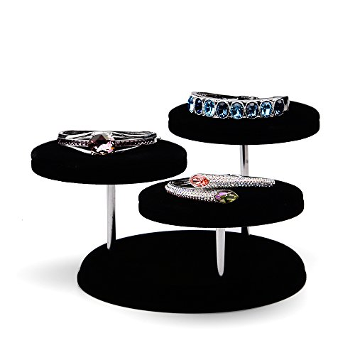 Oirlv Velvet Jewelry Towers Display Stand Organizer Rack For Bracelet,Bangle,Watch,Rings Earrings,Jewellery Holder (3 Tier,Black) by Oirlv