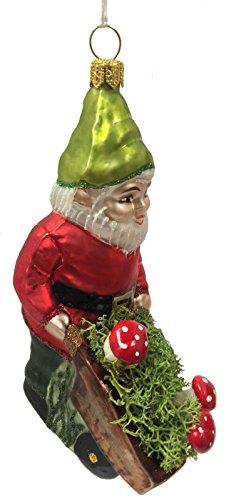 Gnome with Wheelbarrow of Red Mushrooms Polish Glass Christmas Tree (Glass Ornament Mushroom)