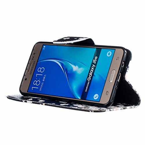 Yiizy Samsung Galaxy J5 (2016) J510 Funda, Blanco Flor Que Agita Diseño Solapa Flip Billetera Carcasa Tapa Estuches Premium PU Cuero Cover Cáscara Bumper Protector Slim Piel Shell Case Stand Ranura pa