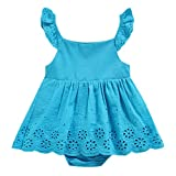 Baby Girl Romper Jumpdress Kids Summer Solid Flower Cutout Princess Sunsuit Outfits Dress Clothes 0-2 years (18-24 Months, Blue)