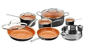 Gotham Steel 1471 Kitchen Nonstick Frying Pan and Cookware Set, Graphite (12 Piece)