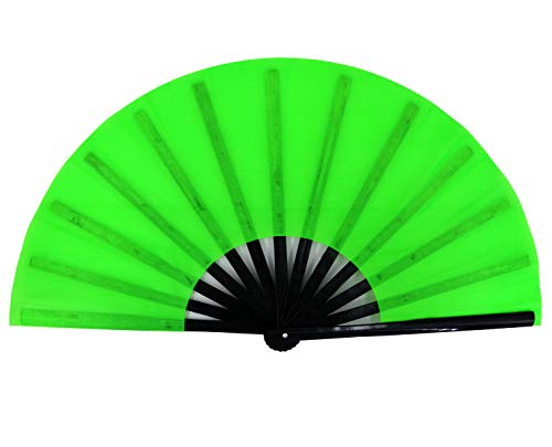 Amajiji Large Folding Hand Rave Fan for Women/Men, Chinease/Japanese Bamboo and Nylon-Cloth Folding Hand Fan for Performance, Festival, Events, Gift, Craft, Dance, Decorations (Green)