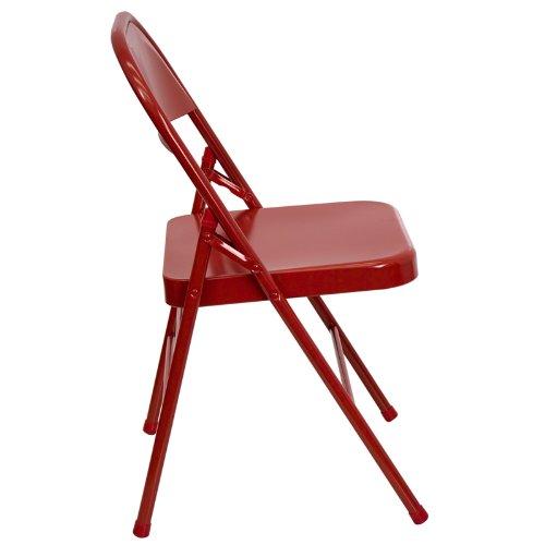 Flash Furniture HERCULES Series Triple Braced & Double Hinged Red Metal Folding Chair