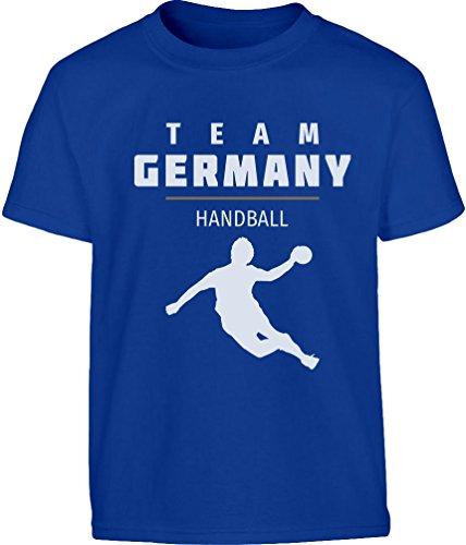 Team Germany Handball Fan Shirt Olympische Spiele Kinder T-Shirt - Gr. 140-182 Medium Blau