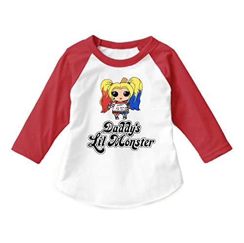 Dittoxpression Suicide Squad Harley Quinn Daddy's Lil Monster Raglan Shirt Unisex Child 3/4 Sleeve Raglan Children T-Shirt (6T) -