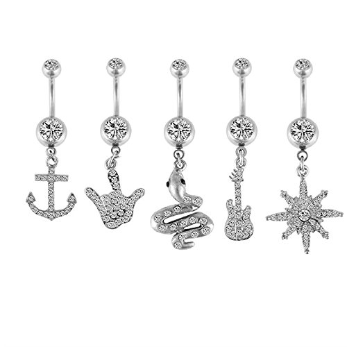 BodyJ4You 5 Pieces Belly Button Rings Set Dangle Navel Barbell Anchor Sun Body Piercing 14G (1.6mm) (Rock Belly Button Rings)