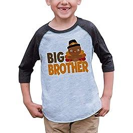 7 ate 9 Apparel Baby Boy's Big Brother Thanksgiving Grey Raglan