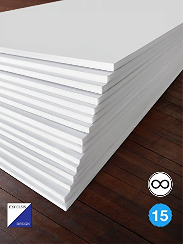 Excelsis Design - Pack of 15 - Foam Boards (Acid-Free) - 18x24 Inches - 3 16 Inch Thick Mat - White with White Core (Foam Core Backing Boards - Double-Sided Sheets)