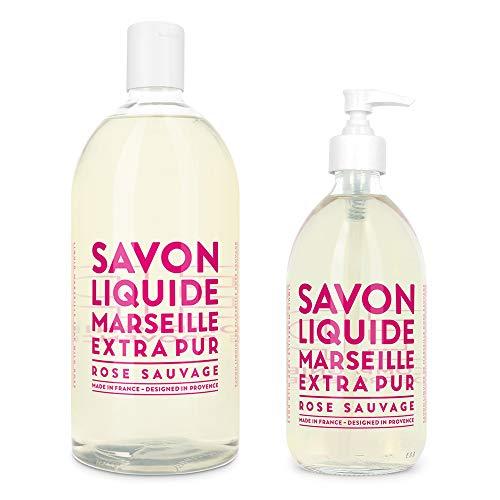 Compagnie de Provence Savon de Marseille Extra Pure Liquid Soap - Wild Rose - 16.9 Fl Oz Glass Pump Bottle and 33.8 fl oz Plastic Bottle Refill