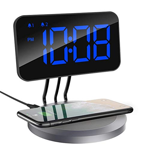ess Charging Pad, Compatible with All Qi-Enabled Phones, Dual Alarm Clock with Snooze Button, Adjustable Dimmer, 12/24H, 1.Blue ()